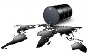 Dessin infographique : du pétrole a coulé d'un baril noir et forme les continents de la Terre.